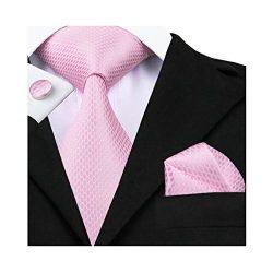 Hi-Tie Pink Plaid Checks Jacquard Woven Silk Tie Necktie Set