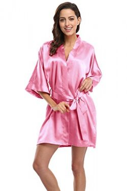 KimonoDeals Women's Soft Elegant Solid Color Kimono Robe-Deep Pink, Short L