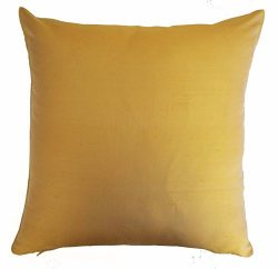 Silk Throw Pillow Cover Gold 15×15 inch 1 Piece 100% Pure Silk Dupioni Cushion Cover