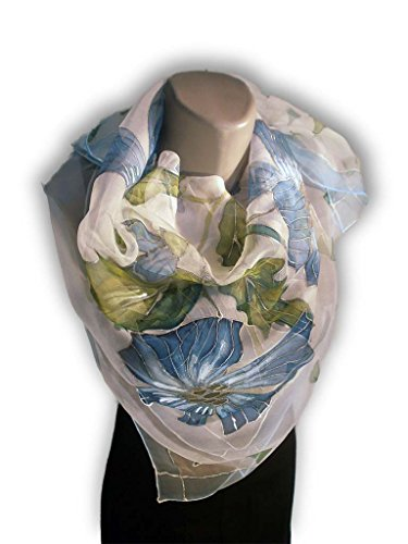 ONLY BLUE Hand-Painted Silk Scarf