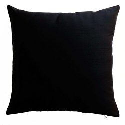 Silk Throw Pillow Cover Black 15×15 inch Pack of 2 100% Pure Silk Dupioni Cushion Cover