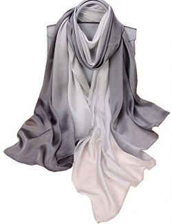 K-ELeven Silk Scarf Gradient Colors Scarves 100% silk Long Lightweight Sunscreen Shawls for Wome ...