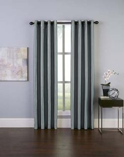 Curtainworks Malta Faux Silk Grommet Curtain Panel, 50 by 95″, Teal