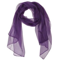 Wrapables Solid Color 100% Silk Long Scarf, Majestic Purple