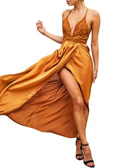 BerryGo Women's Sexy Backless Sequin V Neck Lace Up Split Satin Party Dress Gown Orange,S