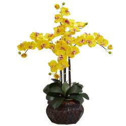 Nearly Natural 1211-YL Phalaenopsis with Decorative Vase Silk Flower Arrangement, Yellow