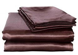 Honeymoon Luxury Satin Bed Sheet Set, Ultra Silky Soft, Queen – Chocolate