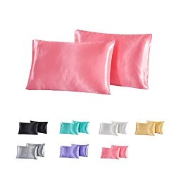 For Skin & Hair Health,Soft Hypoallergenic,WarmGo 2Pc 100% Polyester Satin Silk Pillowcase S ...