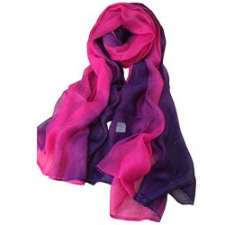Unilove Summer Silk Scarf Gradient Color Long Lightweight Sunscreen Shawls for Women (Rose Red)