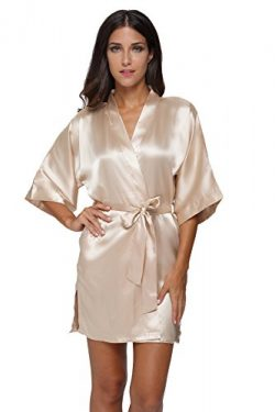 The Bund womens Pure Colour Short Kimono Robes with Oblique V-Neck apricot Medium