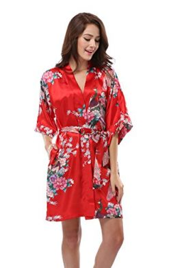 Luvrobes Women's Satin Kimono Robe, Peacock Design, Short (S, Red)