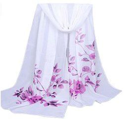Chiffon Scarf,Han Shi Stylish Women Soft Wrap Shawl Silk Voile Scarf Headscarf Muffler (L, Purple)
