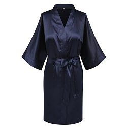 Goodmansam Women's Simplicity Stlye Bridesmaid Wedding Party Kimono Robes, Short,Denim Blu ...