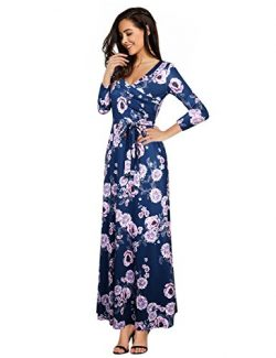 Leadingstar Floral Print 3/4 Sleeve V-Neck Maxi Long Dresses With Belt Dark Blue XL