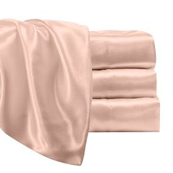 Satin Radiance Luxury Charmeuse Satin Sheet Set with Deep Fitting Pockets, 3 Piece Sheet and Pil ...