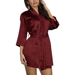 Find Dress Women's Solid Satin Robe Bridemaids Robes Sliky Kimomo 10186BurgundyM