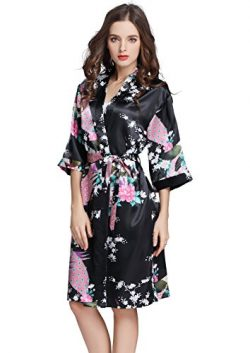 J.ROBE Women's Printing Lotus Kimono Robe Short Sleeve Silk Bridal Robe Black M