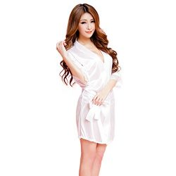 AmyDong Women Fashion Bathrobe Sexy Lingerie Wild Temptation Ladies Sleepwear Ice Silk Dress Sex ...