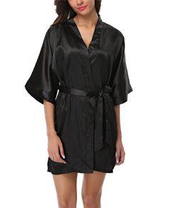 FADSHOW Women's Plus Size Satin Robes Short Silk Bathrobes Wedding Nightwear,Black