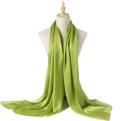 Bellonesc Silk Scarf 100% silk Long Lightweight Sunscreen Shawls for Women (apple green)