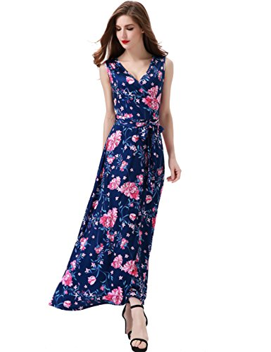 Melynnco Women's Floral Sleeveless Faux Wrap V Neck Long Summer Maxi Dress Small Navy