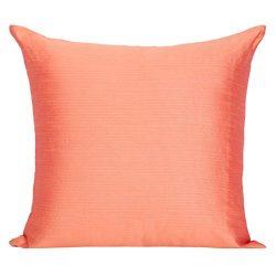 Set of 2 Salmon Orange Art Silk Pillow Covers, Plain Silk Cushion Cover, Solid Color Salmon Oran ...