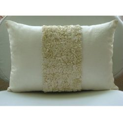 Handmade Ivory Lumbar Pillow Cover, Textured Ribbon Ribbon Pillows Cover, 12″x20″ Lu ...