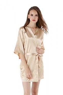 Vogue Forefront Women's Satin Plain Short Kimono Robe Bathrobe, Medium, Beige