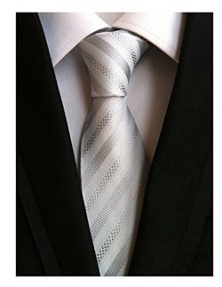 Secdtie Men's Stripe White Silver Jacquard Woven Silk Tie Formal Necktie TW010