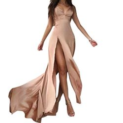 Konghai Women Elegant Halter Evening Party Dress Deep V-Neck Sexy Satin Maxi Dress