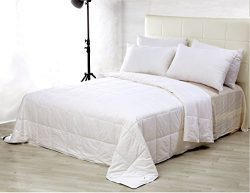 100% Silk Comforter Silk Duvet Natural Cotton Covered , White,California King,110×96 inch,Silk W ...