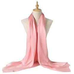 Bellonesc Silk Scarf 100% silk Long Lightweight Sunscreen Shawls for Women (light pink)