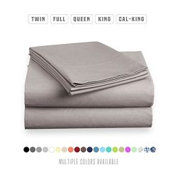 Luxe Bedding Sets – Queen Sheets 4 Piece, Flat Bed Sheets, Deep Pocket Fitted Sheet, Pillo ...
