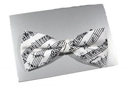 Mens White Silk Music Bowtie – Made In England