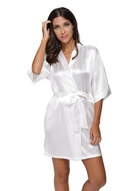 The Bund Womens Pure Colour Short Kimono Robes with Oblique V-Neck White Small