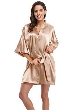 KimonoDeals Women's Soft Elegant Solid Color Kimono Robe-Champagne, Short L