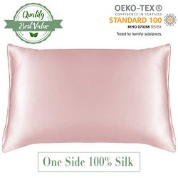 MYK Luxury Pillowcase, 100% Pure Natural Mulberry Silk, 19 Momme with Cotton underside for Hair  ...