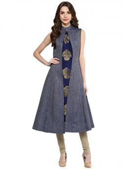 Aahwan Indian Kurtis for Women Blue Denim and Taffteta Silk A-line Sleeveless Calf Long Dress La ...