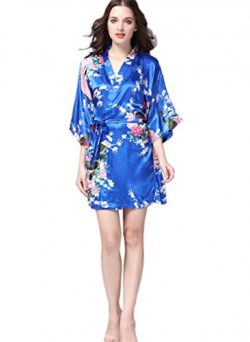 YUAKOU Women's Short Kimono Robes Peacock Blossoms Silk Nightwear Bathrobes