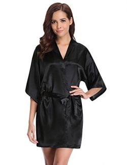 Aibrou Women's Kimono Robes Satin Pure Colour Short Style With Oblique V-Neck Robe