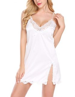 Goldenfox Babydoll Nightie Womens Striped Satin Pajamas Lace Nightgown (White,X-Large)