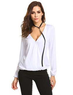 Zeagoo Women V Neck Cross Front Long Sleeve Faux Wrap Pullover T Shirt Top With Neck Band