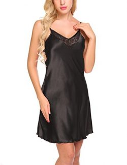 Ekouaer Womens V Neck Sleepwear Nightgown Full Slips Lace Sling Dress (Black S)
