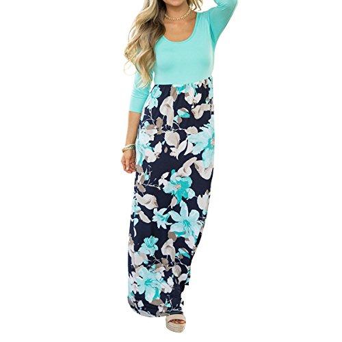 6bee781f9bc7 Evoky Women s Floral Print Long Sleeve Loose Plain Maxi Dresses Casual Long  Dresse Maxi Dr .
