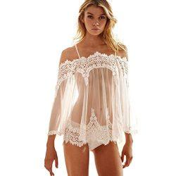 YANG-YI Clearance, Women Lingerie Underwear Babydoll Sleepwear Lace Bra Dress G-string Set (Whit ...