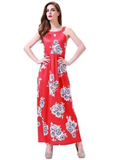 Aphratti Women's Sleeveless Bohemian Halter Long Beach Maxi Dress Small Red