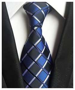 Wehug Men's Classic Plaid Tie Silk Woven Necktie Jacquard Neck Ties For Men LH0002