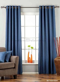 Lined-Blue Ring Top Matka Raw Silk Curtain / Drape – 80W x 96L – Piece