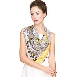 "Silk Scarf Women, 100% Silk Pure Mulberry for Women Square Wrap 35""x35"" (Gray Yellow)"