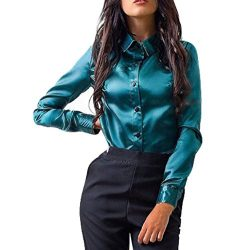 Oksale® Women Button Fashion Casual Tops Silk Long Sleeve Shirt Business T Shirt Blouse (Green, M)